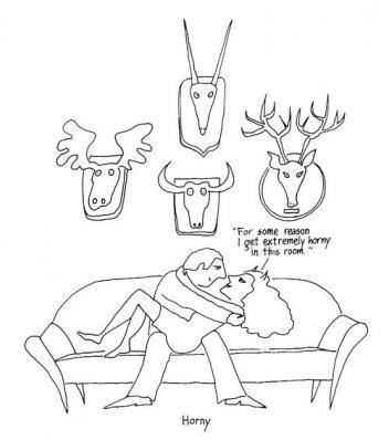 cartoon with two people making love under antlered animal trophy heads